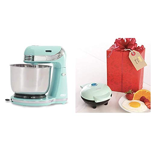 Dash Stand Mixer, Aqua & Mini Maker Portable Grill Machine + Panini Press for Gourmet Burgers, Sandwiches, Chicken + Other On the Go Breakfast, Lunch, or Snacks with Recipe Guide - Aqua
