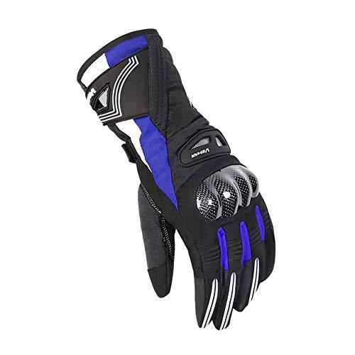 FitTrek Motorradhandschuh Herren Winter - Motorradhandschuhe Cross Handschuhe Warm - Touchscreen Motocross Handschuhe Wasserdicht Winddicht - Downhill Handschuhe mit Knuckle Kohlefaserschutz