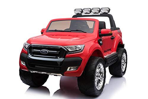 Babycar Auto per Bambini Ford Ranger Wildtrak Luxury (Rossa) Potenziata 4X4 LCD con Telecomando sedili in Pelle e Ruote in Gomma