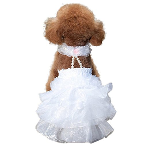 WORDERFUL Dog Wedding Dress Bride Outfit with...