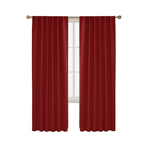Deconovo Blackout Curtains Back Tab and Rod Pocket Thermal Insulated Room Darkening Curtains for Living Room 52x84 Inch True Red