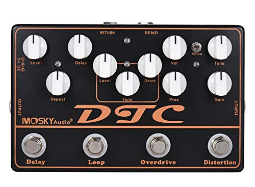 Moskyaudio DTC Multieffects Processor Multi-functional Pedal with Distortion Overdrive Loop Delay Effects in 1 Unit