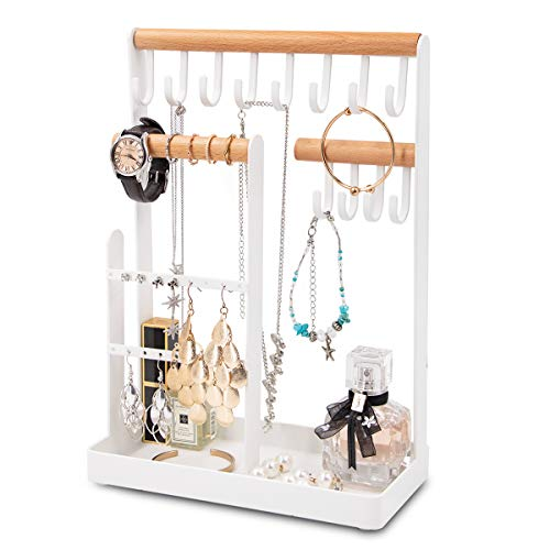 Jewelry Organizer, Jewelry Stand Necklace Organizer with Wooden Ring Tray and Hooks Storage Necklaces, Earring, Bracelets, Rings, Glasses and Watches on Desk Tabletop, Metal and Wood, White