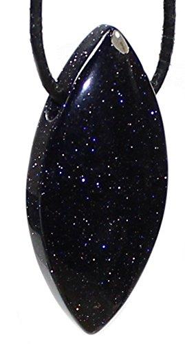 Blaufluss Anhänger Navette gebohrt mit Lederband, Blauflußstein Kettenanhänger