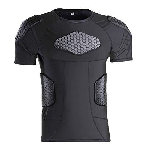 Leezo Deportes de panal de abeja de compresión de la camisa anti-colisión de manga corta camiseta ropa de deporte equipo de protección al aire libre equitación baloncesto fútbol proteger tela