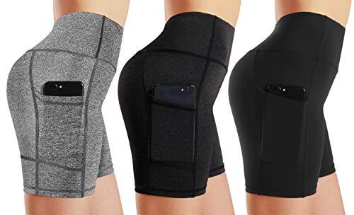WAMAYOU Womens Yoga Shorts High Waist Workout Running Tummy Control Athletic Biker Shorts,3 Pack