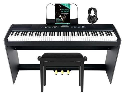 McGrey SP-100-Plus Stagepiano Home Set (E-Piano mit 88 Tasten, Hammermechanik, Kopfhöreranschluss, Aufnahmefunktion & passendem Piano Unterbau- & Bank, Kopfhörer & Klavierschule) Schwarz