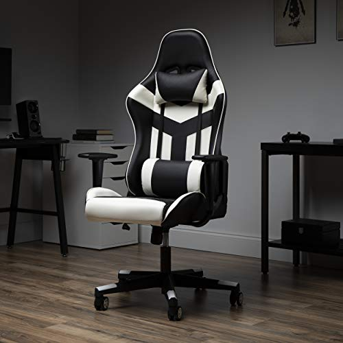 OFM ESS Collection High Back PU Leather Gaming Chair, White