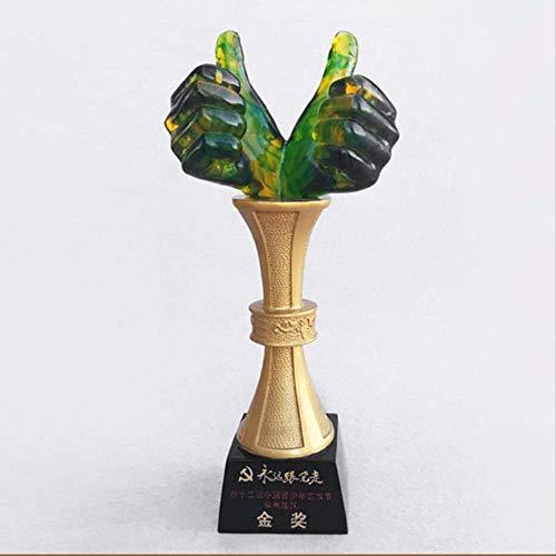 GIAO Figurines Decor Hars ambachten Trophy Swing Serie Creatieve Duimen Hand Lof Geest Uitstekende Werknemer Trofee