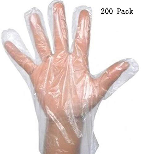 200 stuks wegwerphandschoenen van PE-kunststof, langwerpig, dik, voor de keuken, reiniging, veiligheid, transparant, in doos 200 pcs / boîte