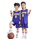 CYQQ Camiseta 8# para niños Kobe # 8, Camiseta de Ventilador de Verano Chaleco sin Mangas Traje de Ropa Deportiva(Size:M(130-140cm),Color:A3)