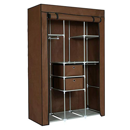 JHNEA Cloth Wardrobe Clothes Closet, Portable Closet Wardrobe Storage Closet Standing Closet Fabric Cabinet Portable Wardrobe,Brown_105*45 * 158cm