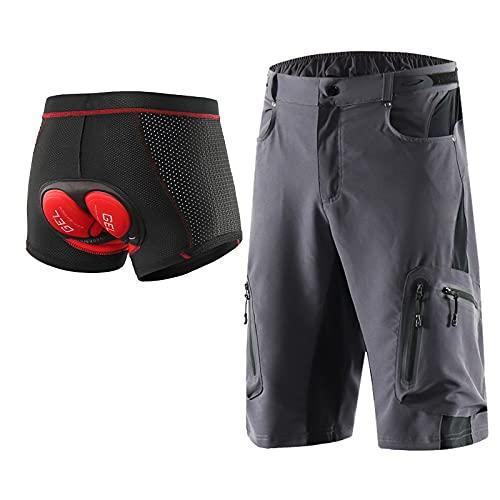 Hombres Pantalones Cortos De Ciclista MTB Pantalones Cortos Transpirables Sueltos con Almohadilla De Asiento 3D De Secado Rápido para Bicicleta De Montaña, Gris, XXL