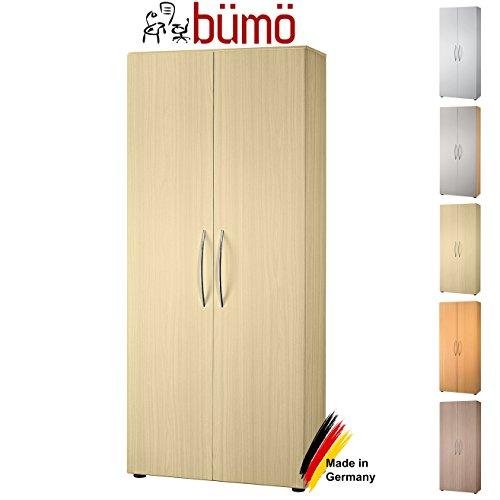 bümö® Aktenschrank aus Holz | Büroschrank für Aktenordner | Flügeltürenschrank für Ordner | inkl. 4 Einlegeböden | in 8 Farben verfügbar (Ahorn)