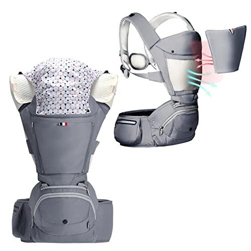 Bebamour Portabebés Recién nacido a niño pequeño, Portabebés 6 en 1 para 0-36 meses, 100% algodón, Asiento de cadera plegable para bebé 3 piezas Baberos de babero para bebés (Noble Grey)