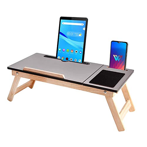 ibs wooden standard adjustable foldable multi-function portable laptop table/study table (brown) pack of 1
