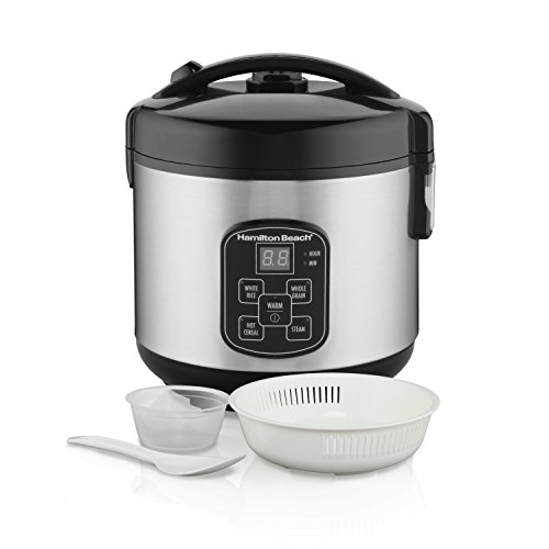 Hamilton Beach Digital Programmable Rice Cooker & Food Steamer, 8 Cups Cooked (4 Uncooked), With...