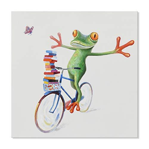 Sieben Wand KÜNSTE - Modernes handgemaltes Ölgemälde Niedlicher Tier Frosch mit Schmetterling Grafiken für Wohnzimmer Kinderzimmer Dekor 24 x 24 Zoll