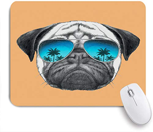 VANKINE Mouse Pad Pug Dog with Reflecting Aviators Palm Trees Tropical Environment Cool Pet Animal Non-Slip Rubber Gaming Mouse Pad Rectangle Mouse Pads for Computers Laptop
