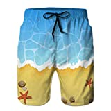 Photo de Mens Printing Beach Shorts Swim Trunk Quick Dry Beach Ocean Wave Sandy Shells St par
