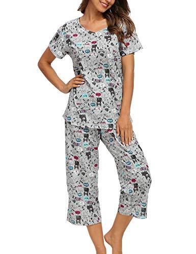 ENJOYNIGHT Women's Cute Sleepwear Tops with Capri Pants Pajama Sets (Dog, XX-Large)