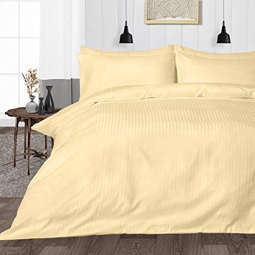 Juego de ropa de cama de 3 piezas de 600 hilos, súper suave, 100% algodón egipcio, con dos fundas de almohada, tamaño Euro King IKEA, rayas de óxido