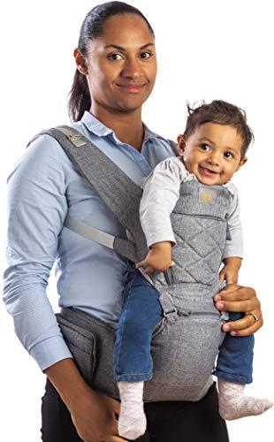 Flok - Babytrage Ergonomische für Neugeborene 0 36 Monate mit abnehmbarem Sitz und abnehmbarer Kapuze. Evolutionär, verstellbar und atmungsaktiv. Multiposition, Front, Back und Street Front (Grigio)