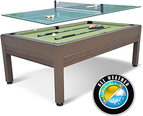 Snow Shop Everything 84 Inch Outdoor Wicker Billiard Table with Table Tennis Top, Includes All Accessories
