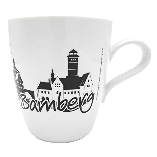 Heimatshop Franken Skyline Bamberg Kaffeebecher | 0,4L | Porzellan | weiß-schwarz