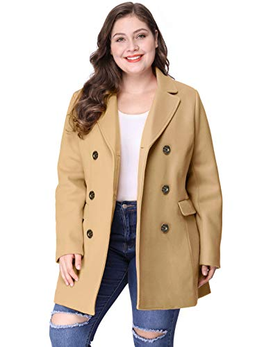 Agnes Orinda Women's Plus Size Notched Lapel Double Breasted Long Coat Brown 2X