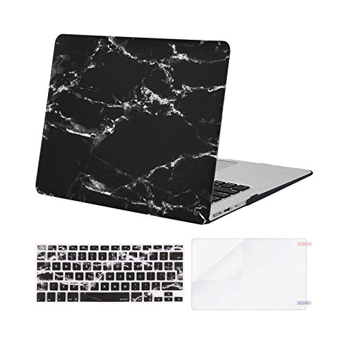 MOSISO Case Compatible with MacBook Air 13 Inch A1369/A1466, Older Version Release 2010-2017, Plastic Shell Cover & Matching Color Keyboard Cover EU Layout & Screen Protector, Black Marble