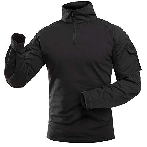 Vzteek Herren Combat Shirts Tactical Shirt Multicam Taktisches Airsoft Flecktarn Paintball Militär Outdoor Hemd (Schwarz, M)