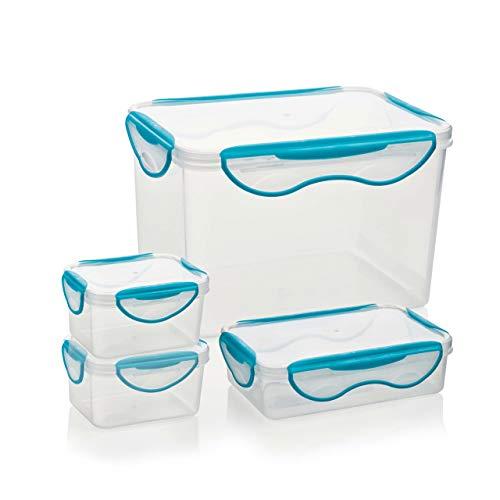 Genius ClipFresh Frischhaltedosen-Set Eckig 4 Teile Schadstoff-Frei Vorrats-Dose Multifunktions-Boxen Tiefkühl Mikrowelle Spülmaschine - Ideal zum Frischhalten