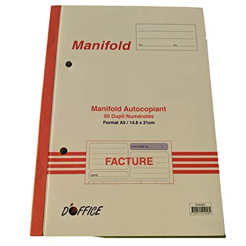 Manifold-facturen, geperforeerd, met BTW. Dupli A5, afmetingen: 210 x 148 mm/21 x 14,8 cm, footation, 50 vellen, zelfdoorschrijvend EZ Office