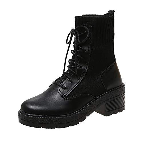 Zhuowei Damenmode Schnürsenkel Martin Boot Block High Heels Skelett Lederstiefel Verschleißfeste rutschfeste Modestiefel Mode Flache Turnschuhe wasserdichte Freizeitschuhe,1,40