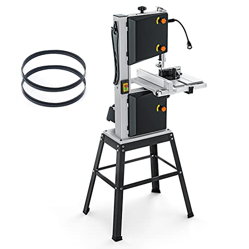 10-Inch 3.5-Amp Band Saw, Two Speeds (2160FPM & 3150FPM), Movable LED Worklight, Aluminum Table Extension, 0°to 45°Bevel Cutting, Benchtop Band Saw with Additional Blade, 2 Scales-PBS01A