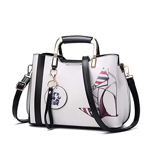 BeniNeue Mode Handtasche große Kapazität bedruckte Umhängetasche-Cremefarbene High Heels