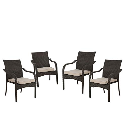 Christopher Knight Home San Pico Wicker Stacking Chairs, 4-Pcs Set, Multibrown / Textured Beige