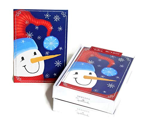 Hallmark Christmas Boxed Cards, Bulk Set of 32 Holiday Greeting Cards and Envelopes, Cute Snowman with Glitter Snowflakes (Snowman)