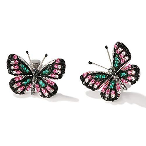 XCFS BEAUTY Pendiente de la mariposa 18K plateó el Aaa circonio cúbico 3D para Mujer Negro