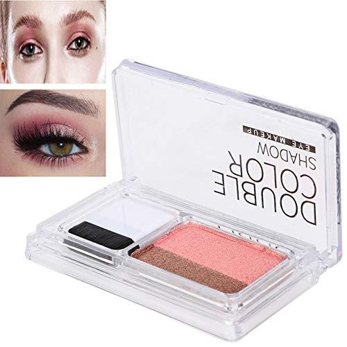 Paleta de Sombras de Ojos de Doble Color Profesional, Polvo de Brillo A Prueba de Agua con Pincel, Rotekt(5#)