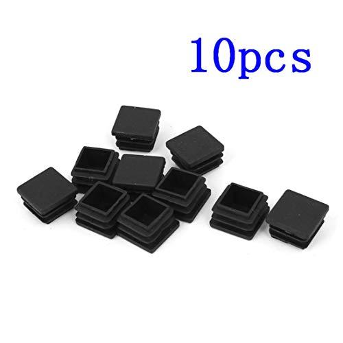 DeoMeat Quadratischer Blanking Endkappe Schlaucheinsatz, schwarz 20mm x 20mm Kunststoff-10pcs