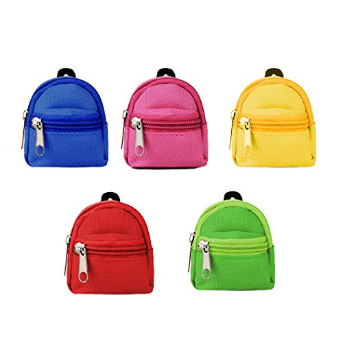 COOFIT Doll Backpack for Doll Bags 5PCS Zipper Backpack Mini Doll Bag Doll Accessories for Doll Backpack