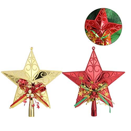 GARNECK 2pcs Star Tree Topper Christmas Tree Star Ornament Xmas Tree Top Pentagram Decor for Festival Party Banquet
