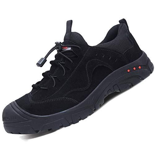 Zapatos de Seguridad Hombres Dedo del pie compuesto Zapatillas de Trabajo con Punta de Acero Transpirable Antideslizante, anti-rotura, anti-puñalada y antiestática,Negro,44EU