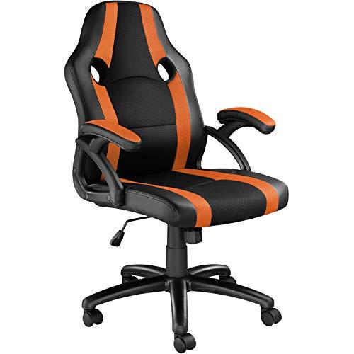 TecTake 800781 Racing Bürostuhl, Chefsessel mit Wippmechanik, Kunstleder Gaming Stuhl, höhenverstellbarer Schreibtischstuhl, ergonomischer Drehstuhl - Diverse Farben - (Schwarz-Orange | Nr. 403477)