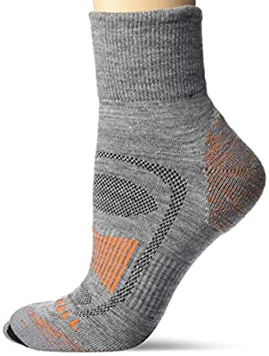 Merrell Women's Merino Wool Cushioned Hiker Quarter Socks 1 Pair, Grey Heather/Flame, M/L