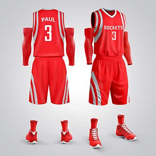 Houston Rockets # 3 Christopher Emmanuel Paul (CP3) Classico Smanicato Traspirante Senza Maniche Tuta Da Allenamento Per Canottiera Da Basket (Camicia + Pantaloncini), Rosso,L(160~165CM/50~55KG)