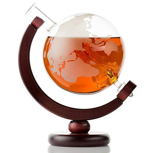 850ml Etched Globe Ontwerp Decanter Whisky Wijn Decanter met Houten Frame voor Huis Bar Creative lege fles wijn fles van de soda