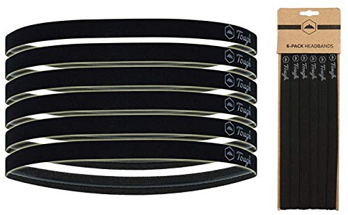Elastic Thin Sports Headbands - 6 Pack Skinny Athletic Hair Bands for Men, Women, Boys & Girls - Non Slip Silicone Grip Hairband & Mini Sweat Band for Soccer, Workout, Running, Exercise, Volleyball